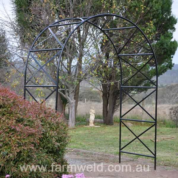 Ornamental Metal Round Top Garden Planter Arch: Garden Arches & Rose Arbours