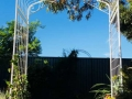 Custom garden arch with wrought iron on front and back.
