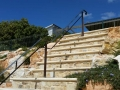 Upper view of handrail balustrade on steep steps at Marino Rocks