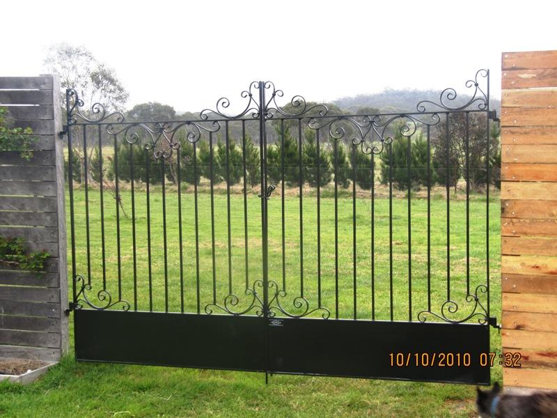 Custom wrought iron gates with leaf barrier, Braidwood NSW