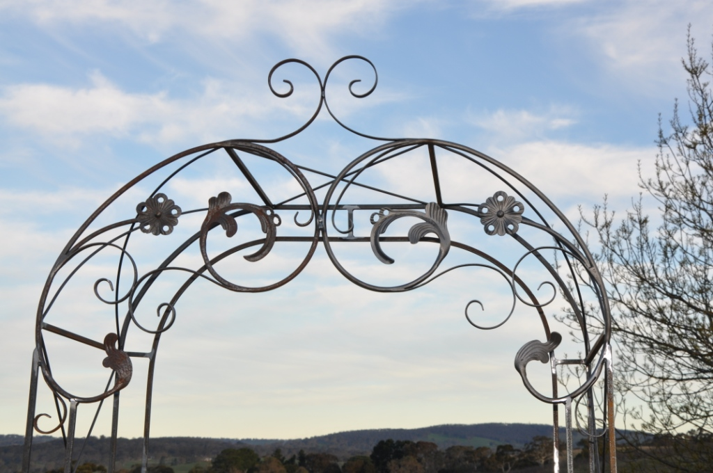 Top of wrought iron garden arch
