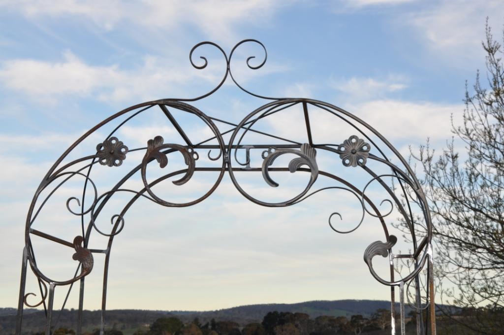 Top of wrought iron garden arch