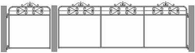 Vintage chain mesh and wrought iron personal access gate. This design is called the 'Kensington'. Illustrated size 1.2m and 3.6m.