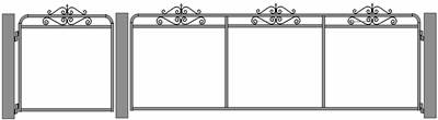 Old style gate, Vanessa with wrought iron and mesh.