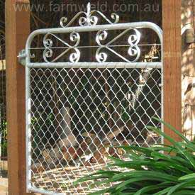 Vintage chain mesh and wrought iron personal access gate. This design is called the 'Kensington'.