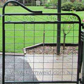 Ornamental gate with farm mesh
