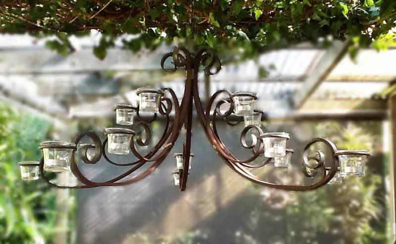 three tier wrought iron chandelier