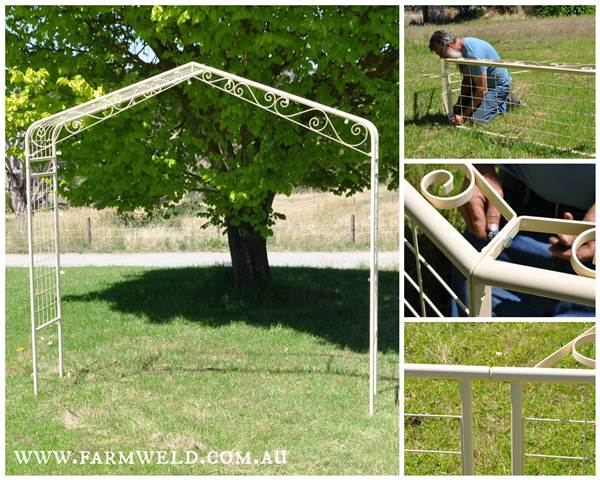 Classic style garden arch adapted with wrought iron and tabs to attach a trellis.