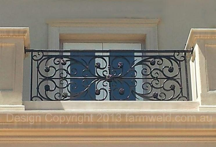 French-style ornamental wrought iron balustrade as designed by Farmweld