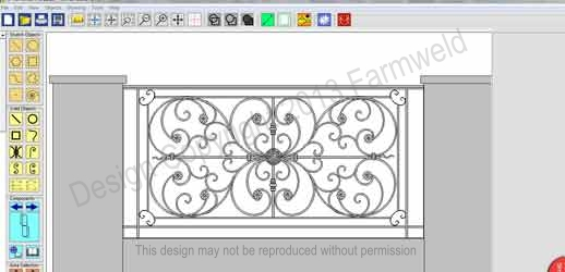 Diagram showing screen shot of ornamental wrought iron balustrade design in progress